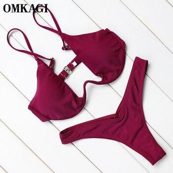 OMKAGI Brand Brazilian Bikini 2018 Swimwear Women Swimsuit Sexy Push Up Underwire Bikinis Set Swimming Bathing Suit Beachwear 1