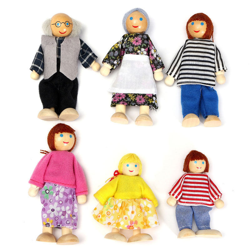 High Quality 6 Pcs Set Happy Loving 3d Family Doll House Wooden Doll