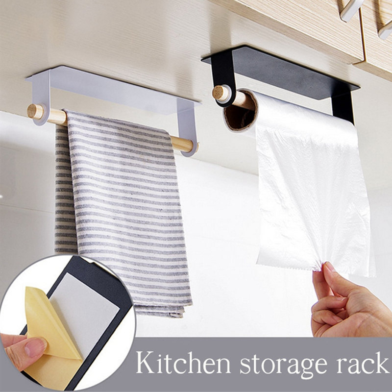 1pc New Wood And Metal Wall Bracket Fashion Towel Rack Storage Box Rag Bracket Plastic Wrap Storage Rack Kitchen Accessorie