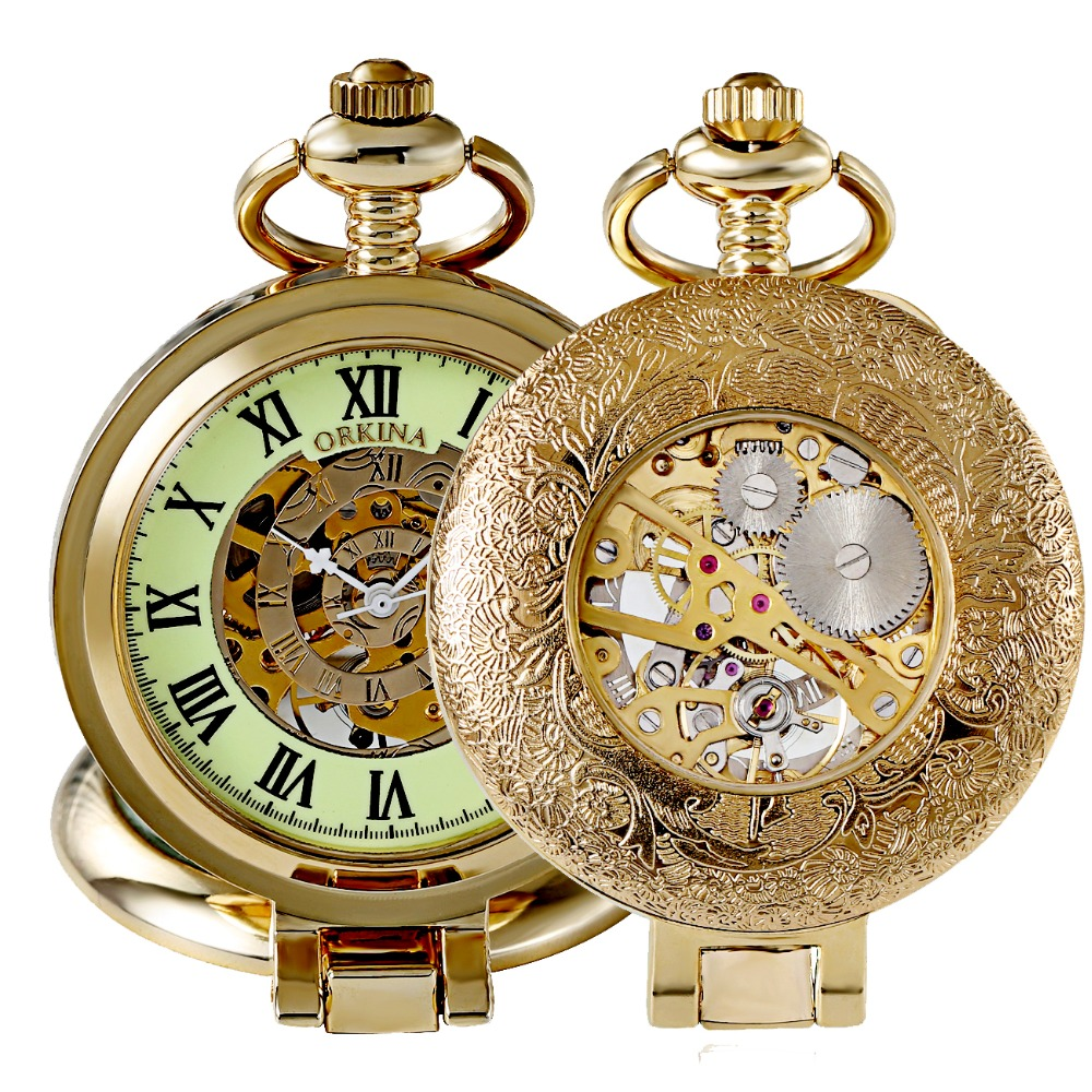 Gold Vintage Pocket Watch Men Skeleton Mechanical Pocket Watch Retro Necklace Fob Chain Watches For Men Luminous Pocket Clock