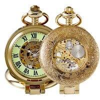 Gold Vintage Pocket Watch Men Skeleton Mechanical Pocket Watch Retro Necklace Fob Chain Watches for Men Luminous Pocket Clock