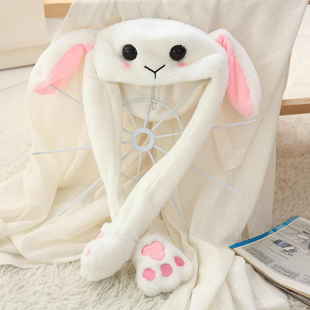 Led Glowing Plush Moving Rabbit Hat Dancing Bunny Ears Pinching Ear to Move Vertically Cartoon Animal Toys Hat