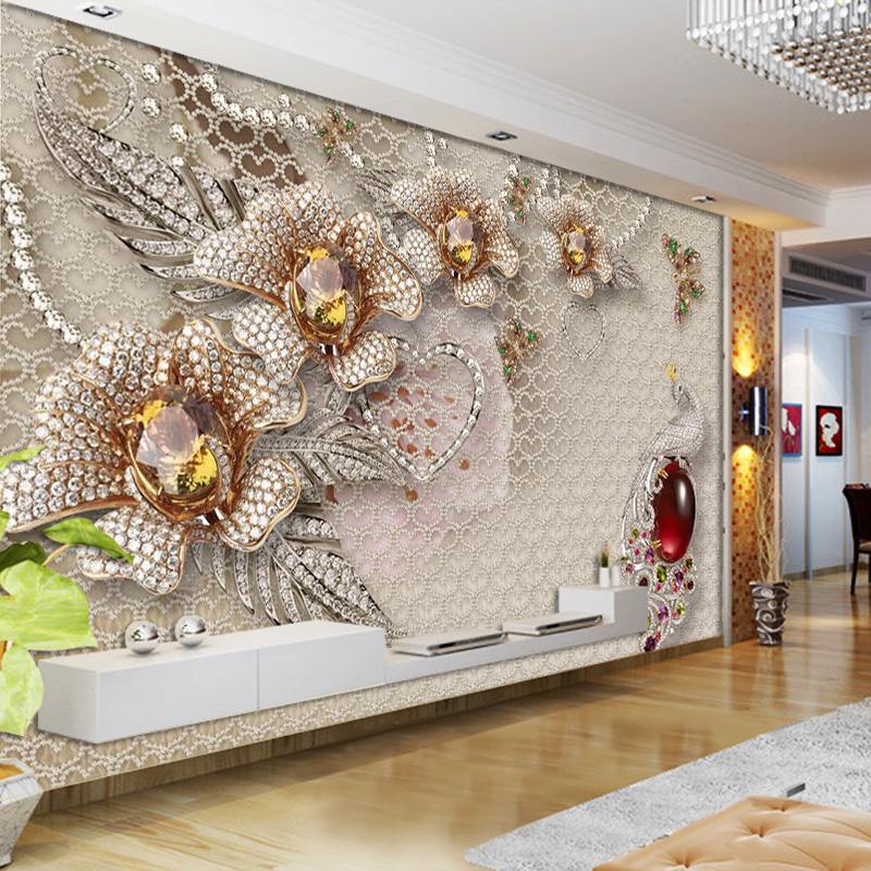 3d papel parede Crystal Peacock Flower Glitter Wallpaper mural 3d photo wallpaper 3d wall Mural for Wedding Room home decor large photo wallpaper bridge over sea blue sky 3d room modern wall paper for walls 3d livingroom mural rolls papel de parede