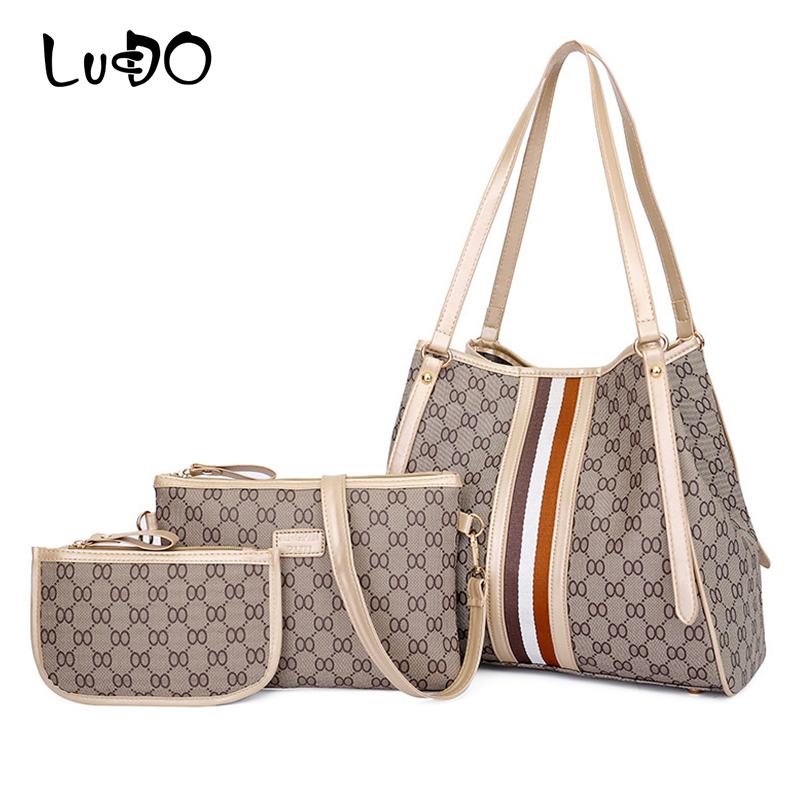 LUCDO Famous Brand Bags Designer Women Luxury Composite Bags PU Leather Shoulder Bag Ladies Handbags Large Capacity Totes bolsas цена