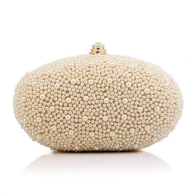 New deal clutch handbag for women ladies bags with pearl bead shoulder bag oval clutch purse wedding evening bags of europe 1366