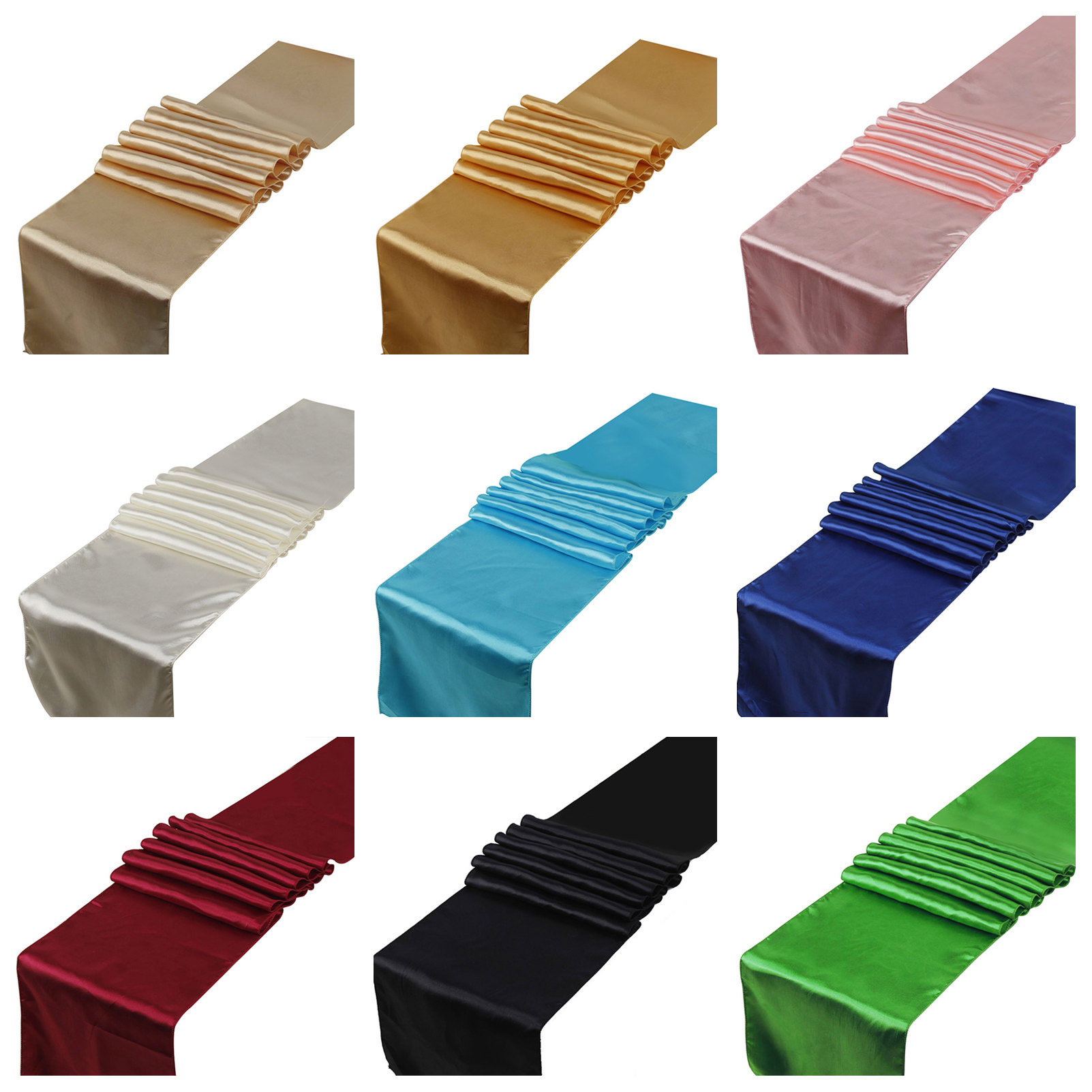 25PCS 30x275cm Satin Table Runners Table Decoration For Home Party Wedding Event Favors Christmas Decoration Banquet