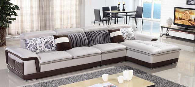 free shipping genuine leather sofa top grain cattle leather l shaped combination corner sofa best