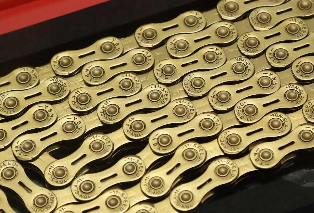 YBN SLA-H11 11 Speed Chain for Shimano Sram Campagnolo silver/gold 116link