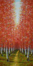 Hand Painted Oil Painting on Canvas Abstract Tree Painting Palette Knife Forest Landscape Canvas Painting Wall Picture for Room