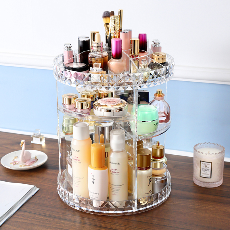 360 Degree Rotation Transparent Acrylic Cosmetics Storage Box Fashion Spin Multi-function Detachable Makeup Beauty Organizer