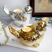 PINNY Nordic Gold Plated Bird Candlestick Silver Ceramic Animal Candle Stand Home Decoration Accessories European Crafts