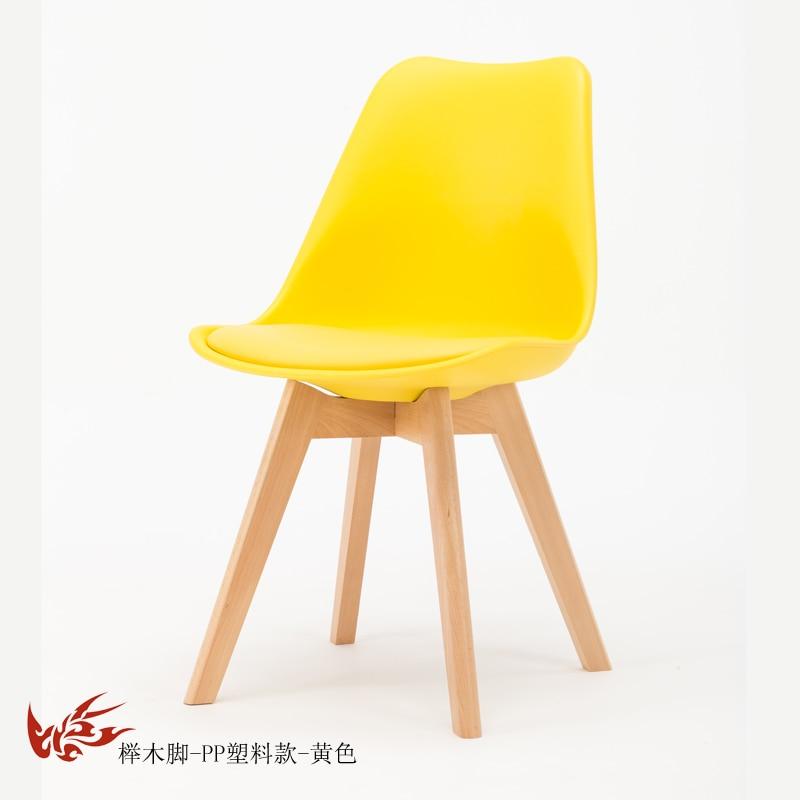 Простой стул Мода нордическая ткань; Массивная древесина обеденный стул кофе отель встречи, чтобы обсудить домашний табурет - Цвет: 14