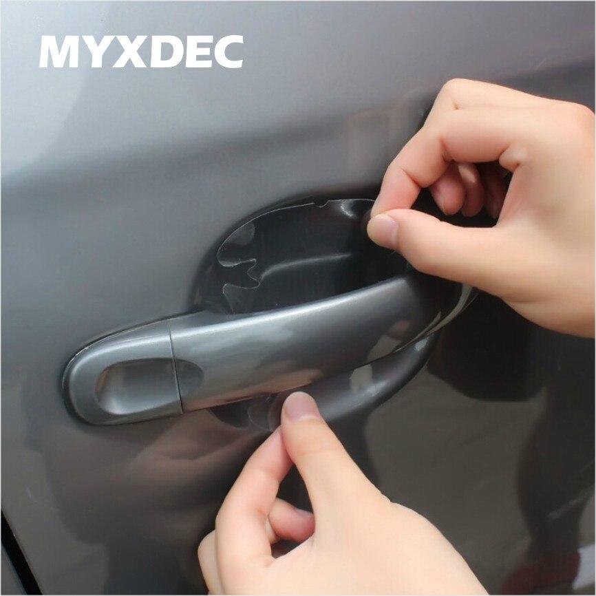 8 Uds. Manija Invisible Universal de la puerta del coche rasguños batidos del automóvil Protector de vinilo películas protección de manija de coche 1