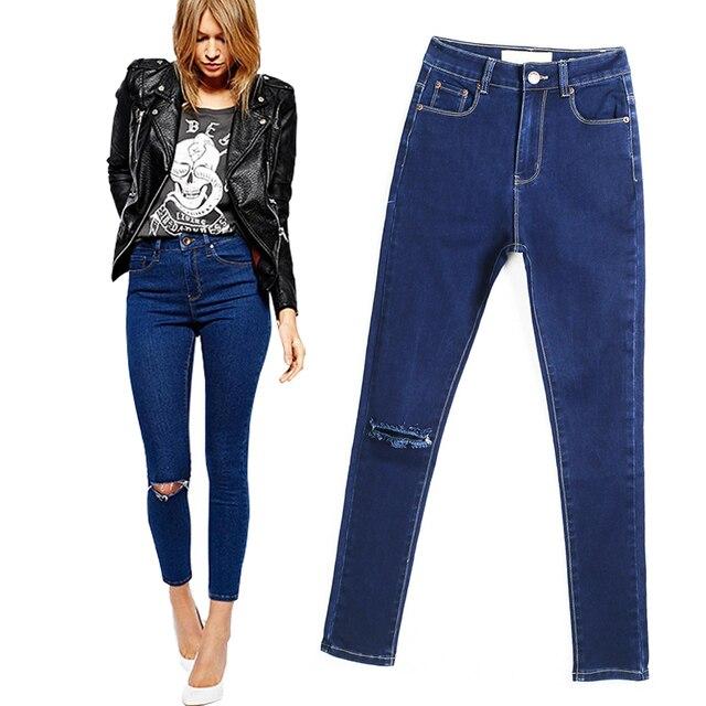 2017 New Arrival Skinny Jeans For Women Slim Pencil Pants Knee Hole Design Jeans Women Plus Size Cowboy Pants