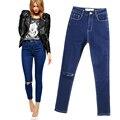 2017 Nueva Llegada Skinny Jeans Para Mujer Delgada Lápiz Pantalones Vaqueros de Diseño Del Agujero de la Rodilla de Las Mujeres Más Tamaño Pantalones Vaqueros