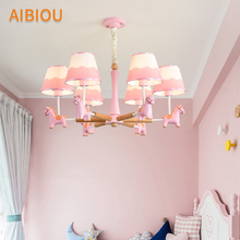 AIBIOU Cartoon LED Chandelier With Fabric Lampshades Pink Chandeliers Horse Kids Lustre Blue Boys Lamp Children Light Fixture