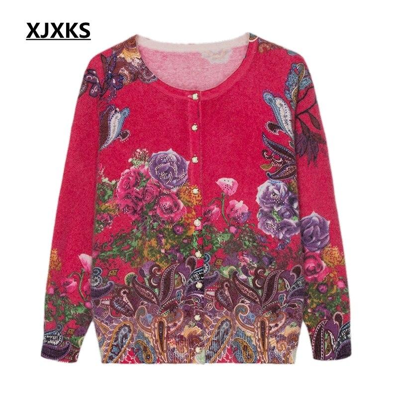 Xjxks Col Dames En Red fin Cachemire Chemise Pull Haute Impression 2019 Cardigan Vêtements Femmes Rond Femme Chandail Rose zFHqzr