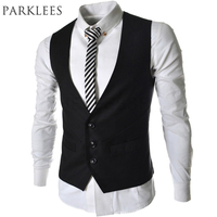 2015 New Arrival Men Vest Spring Autumn Fashion Black Gray Slim Fit Suit Vest Brand Prom