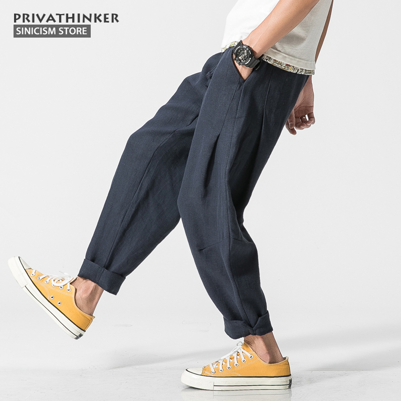 Sinicism Store Plus Size Cotton Linen Harem Pants Men Chinese Traditional Style Male Drawstring Casual Cross Pants Trouser