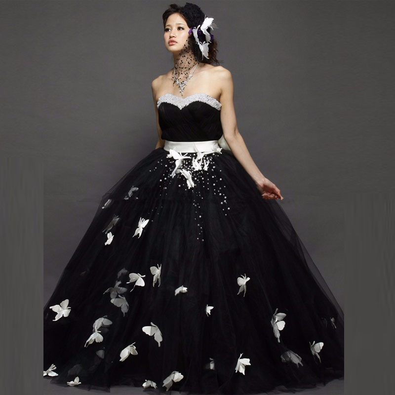 White With Black Wedding Gowns: 2017 New Design Black Ball Gown Tulle Wedding Dress