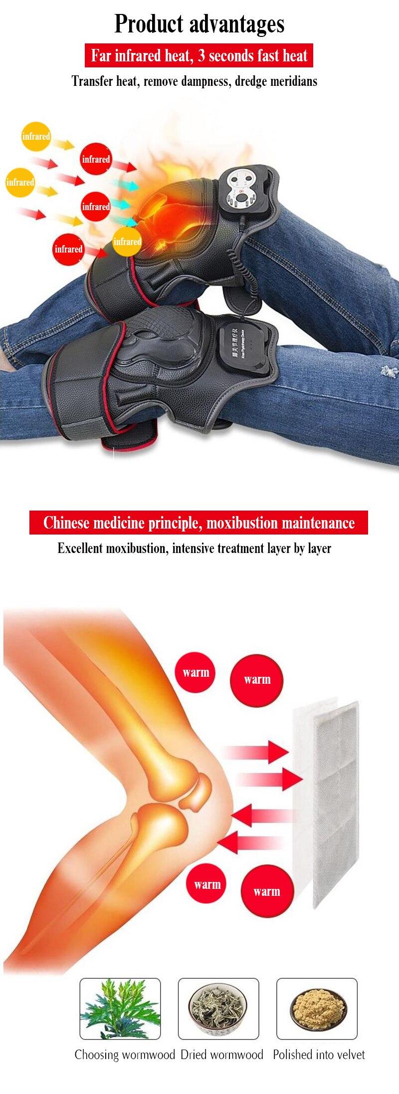 2019 novo infravermelho aquecido vibração joelho massageador