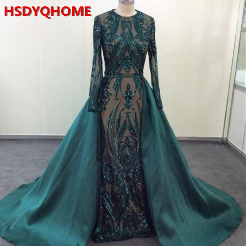 Muslim Long Sleeve   Evening     Dresses   With Detachable Train Sequin Bling Moroccan Kaftan Green Formal Elegant Party Gown