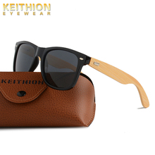 KEITHION Brand Bamboo Leg Polarized Sunglasses Men Classic Square Frame Fashion Retro Female Sun Glasses UV400 classic uv400 protection sunglasses w pu leg black frame