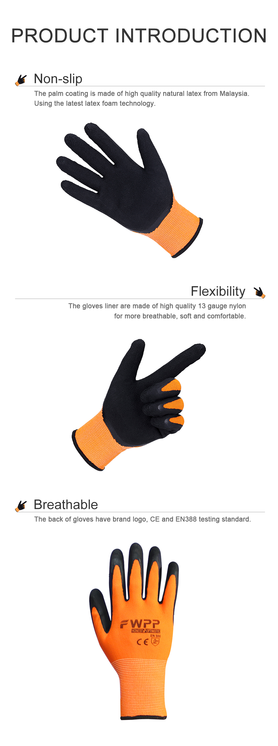 FWPP 1-3 pairs work gloves comfortable breathable non-slip wear-resistant  Fluorescent yellow latex coated gloves