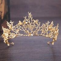 עיצוב שפירית חמוד כלה תכשיטי חתונה נזר כתר כתרי זהב נשים נסיכת עלים פרח אבזרים לשיער