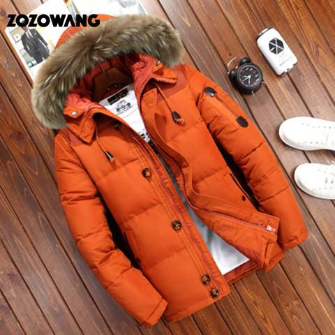 90% Down Jackets Men Winter Jacket Men Fashion Thick Warm Parkas Fur White Duck Down Coats Casual Man Waterproof Down Jackets Lahore