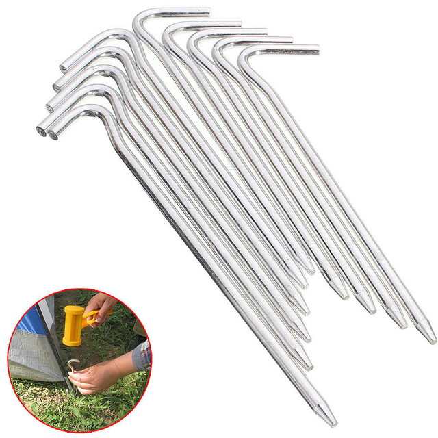 Mayitr 10pcs/set Aluminum Tent Pegs Stake Nails Hook Ground Pin Tool Camping Hiking Outdoors Hiking Camping Tent Accessories