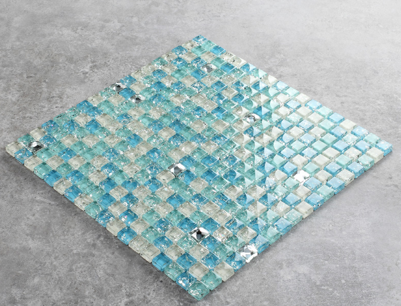 Blue pool tiles Ice crack glass marble blend mosaic kitchen backsplash Bathroom Shower Countertop home decor wallpaper,LSTC154