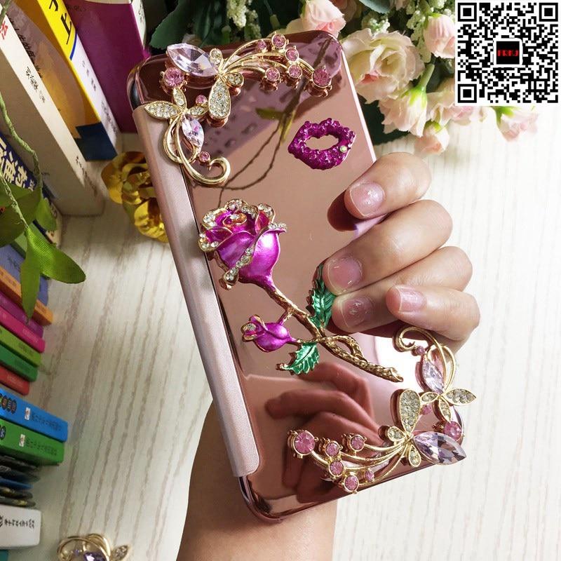 Lusso Donna Ragazza Signora di Rosa Del Fiore Del Diamante + Cuoio di Vibrazione Del Telefono Dello Specchio Caso della copertura Per Samsung Galaxy S8 S9 Più S6 S7 bordo Nota8