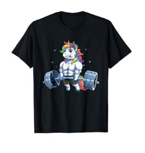 Unicorn Weightlifting T-Shirt Fitness Gym Deadlift Rainbow us Men's trend 2019 Cartoon t shirt men Unisex New Fashion tshirt