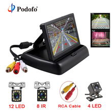 Podofo 2 in1 Parking Assist 4.3 inch Folding Car Monitor Video Player with Night Vision Waterproof Rear View Backup Camera
