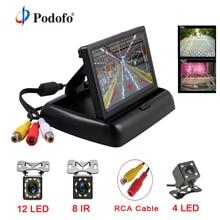 Podofo 2 in1 парктроник 4,3 дюймов складной монитор автомобиля видео плеер с Ночное видение Водонепроницаемый заднего вида Камера