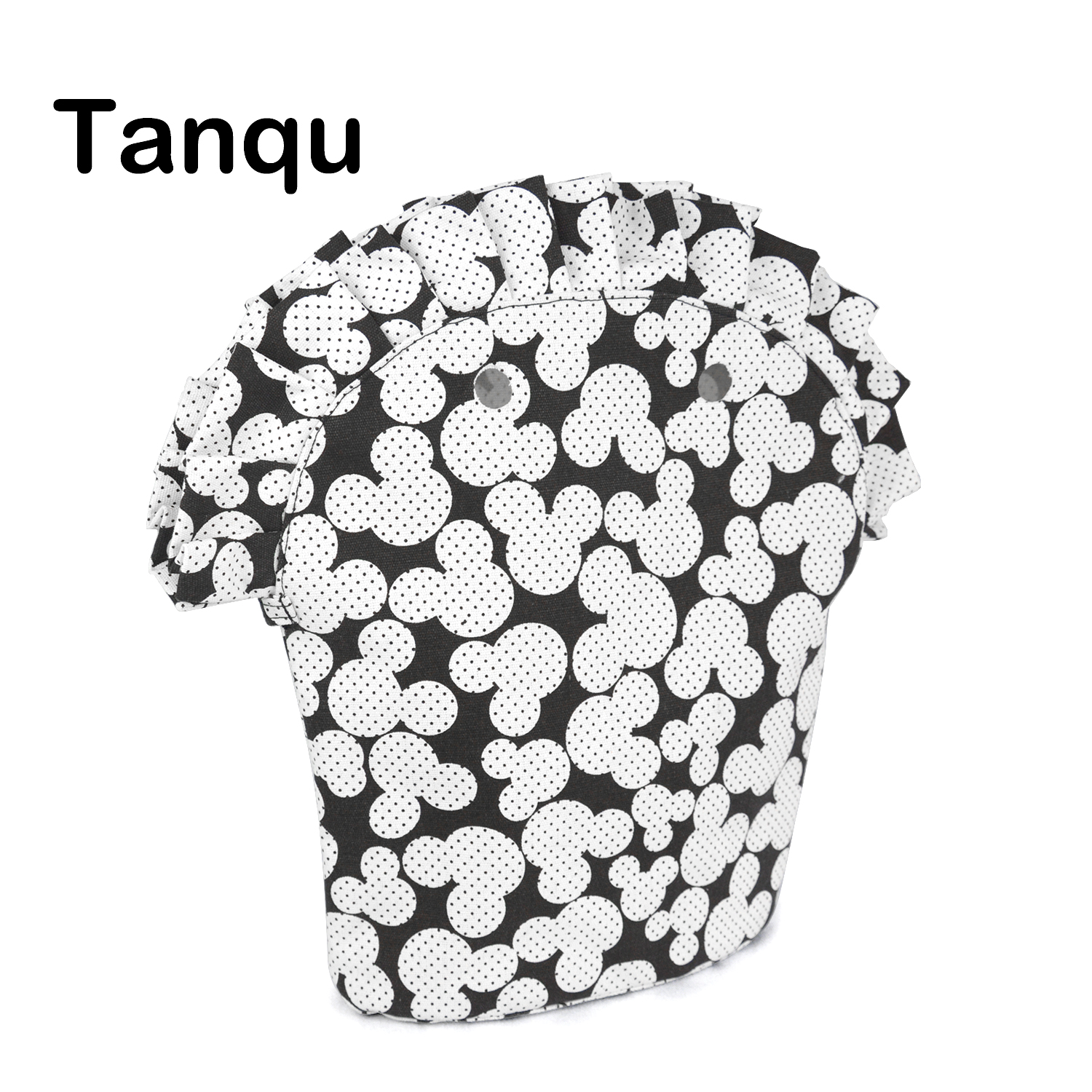 TANQU Floral Frill Pleat Inner Lining Zipper Pocket For Obag 50  Advanced Insert With Inner Waterproof Coating For O Bag 50