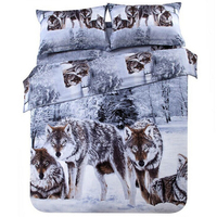 Svetanya 3d Wolf Bedding Set Twill Cotton Fabric Animal Print Duvet Cover Bedsheet Pillowcases