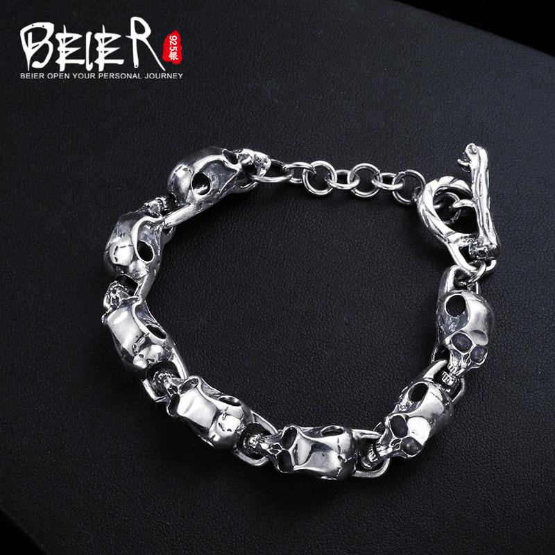 Beier 925 sterling silver bracelet Vintage link chain Skull Bangle Fashion Jewelry SCTYSL0207 цены онлайн