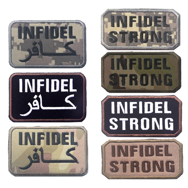 9413e219088 Infidel strong patch multicam woodland desert swat acu tactical infidel  arabic morale isaf crusader badge patches