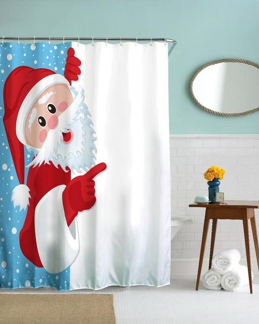 3D Funny Christmas Shower Curtains Polyester Waterproof Bathroom Fabrics Santa Claus Bath Cortinas De Bano