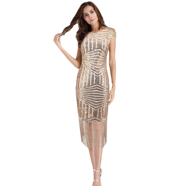 308713e383a3 Elegant 2018 Sequin Tassel Midi Dress V back Flapper Black Gold Bodycon  Dress Sexy Fringe Shining Party Dress Vestido De Fiesta
