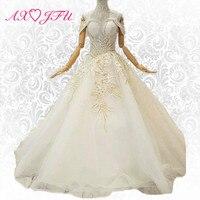 AXJFU принцессы цветок бисером кружевное торжественное платье Роскошные Лодка шеи Белое кружево кристалл блестящие торжественное платье 054711