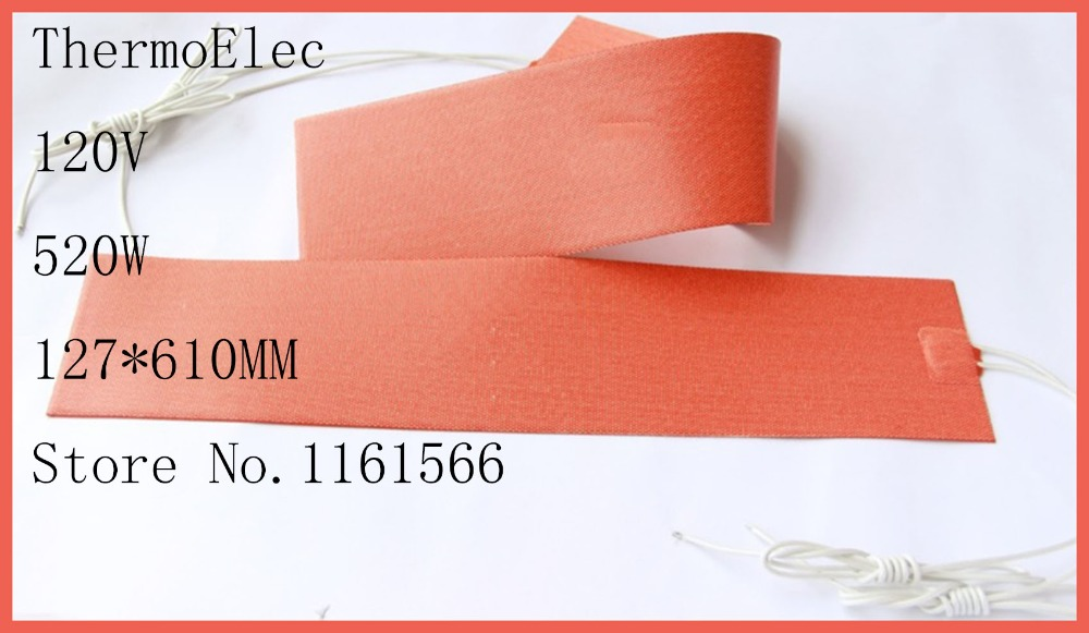 127mmX 610mm 520W 120V heating element Flexible Silicone Heater,Ukulele Side Bending Heating Thermal Heat Blanket,moldes de dia 400mm 900w 120v 3m ntc 100k round tank silicone heater huge 3d printer build plate heated bed electric heating plate element