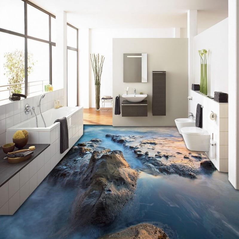 ФОТО Free Shipping Beautiful 3D sea reef flooring background wall non-slip thickened bedroom living room bathroom flooring mural