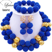 Laanc Nigerian Wedding African Beads Royal Blue Jewelry Set For Women SP2R002 laanc yellow simulated pearl beads african jewelry set nigerian wedding necklace sp1r012