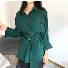 Colorfaith Women Long Blouses 2018 Autumn SpringCasual Buttons Ladies Elegant Lace-up Fitted Waist Retro Tops shirt BL3039
