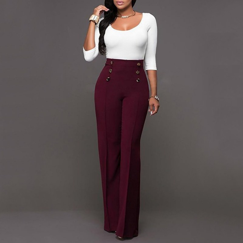 Decorative Button Versatile Slim Straight Trousers Casual Summer Palazzo High Waist Office Career Wide Leg Trousers