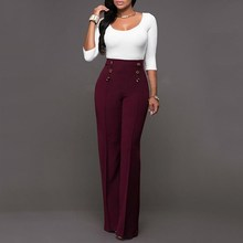 Decorative Button Versatile Slim Straight Trousers Casual Summer Palazzo High Waist Office Career