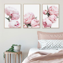 Scandinavian Peony Rose Flower Wall Art Canvas Painting Nordic Minimalism Posters And Prints Pictures For Living Room Decor